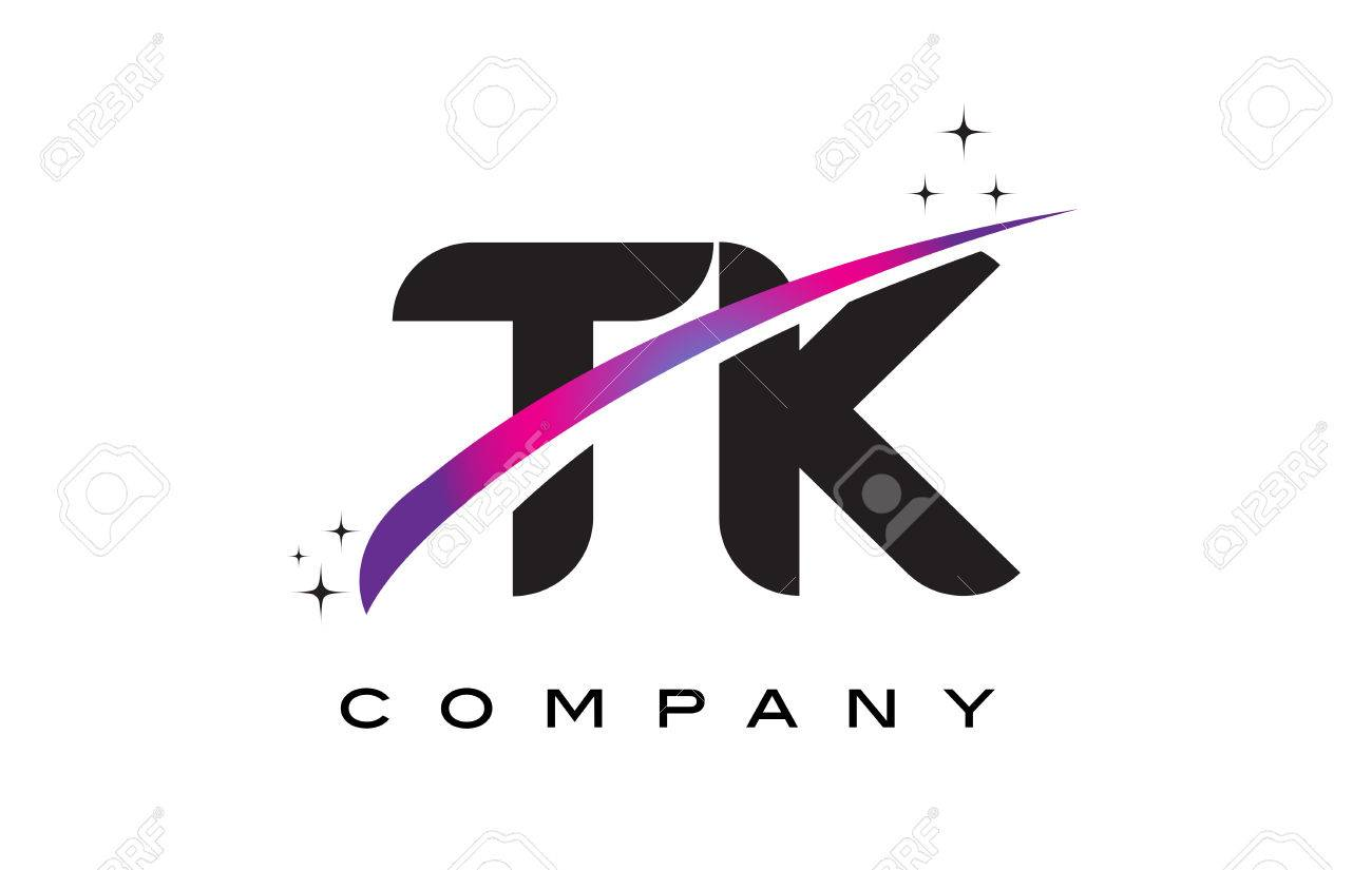 TK T K Black Letter Logo Design With Purple Magenta Swoosh And Stars Stock Vector
