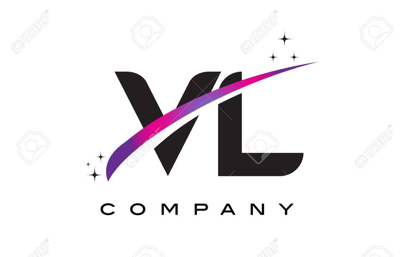 Vl V L Black Letter Logo Design With Purple Magenta Swoosh And