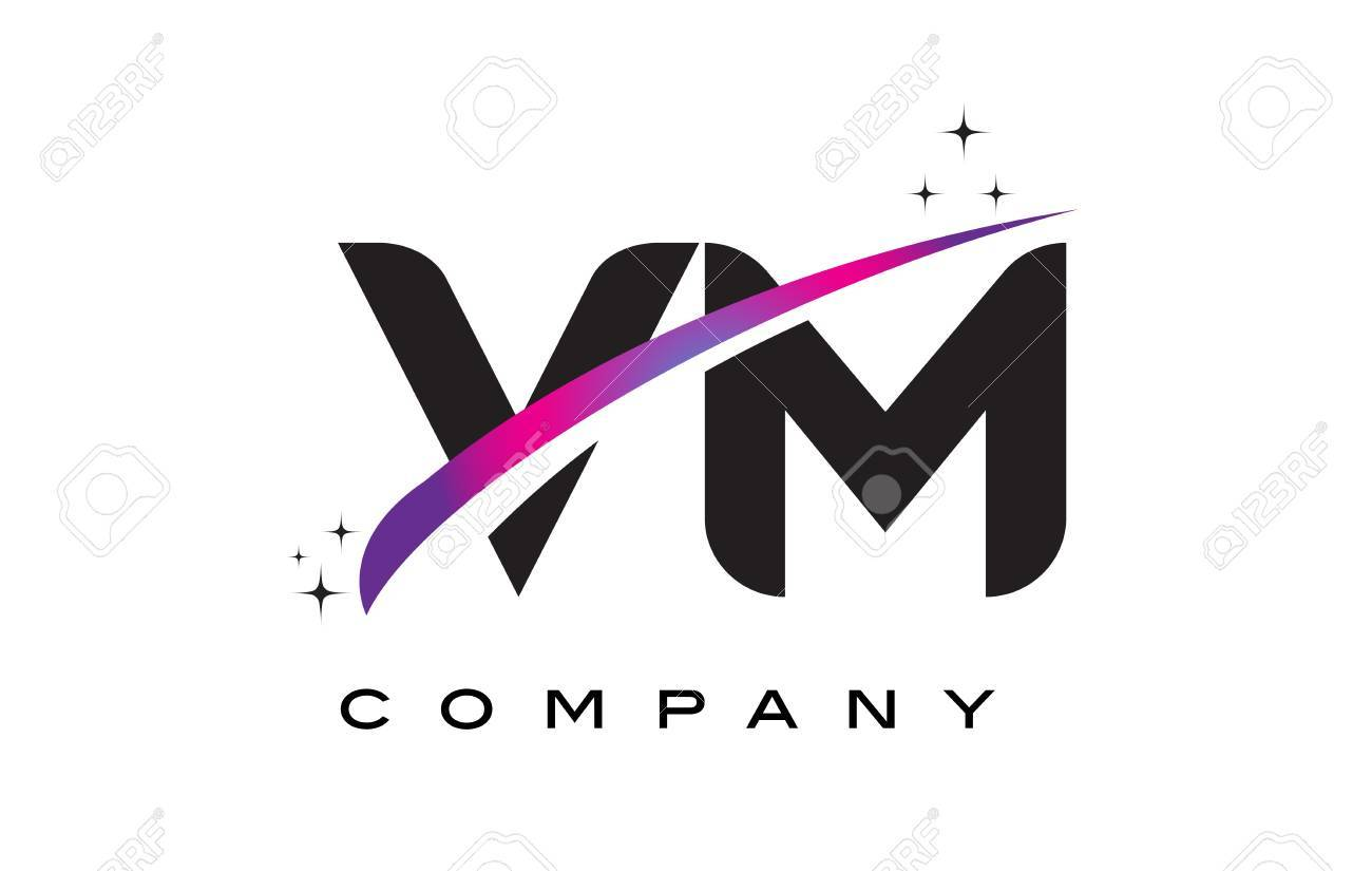 VM V M Black Letter Logo Design With Purple Magenta Swoosh And