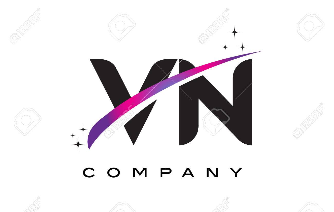 VN V N Black Letter Logo Design With Purple Magenta Swoosh And