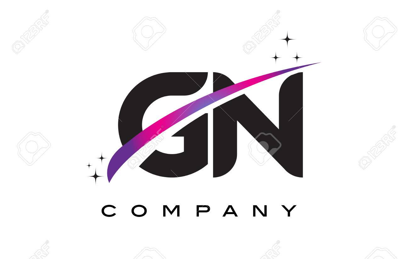 gn g n black letter logo design with purple magenta swoosh and stars stock vector