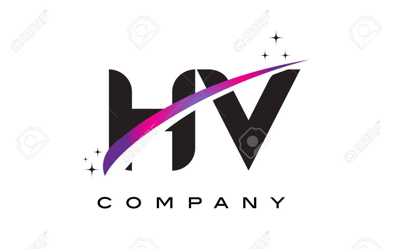 HV H V Black Letter Logo Design With Purple Magenta Swoosh And Stars Stock Vector