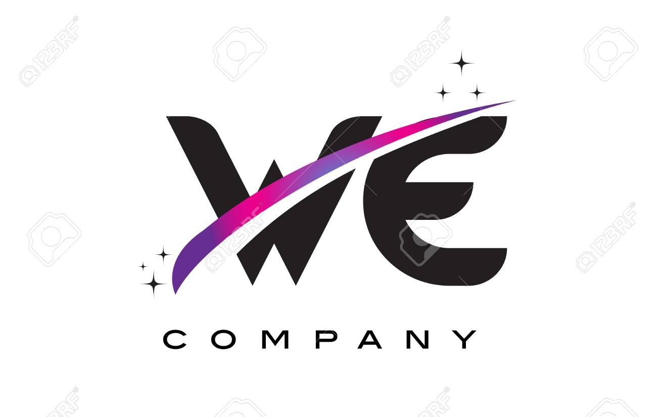 We W E Black Letter Logo Design With Purple Magenta Swoosh And