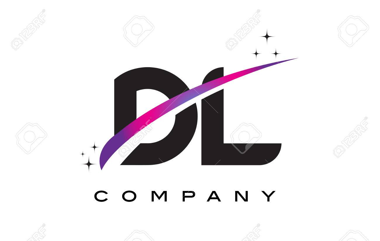 Dl D L Black Letter Logo Design With Purple Magenta Swoosh And Royalty Free Cliparts Vectors And Stock Illustration Image 76694193