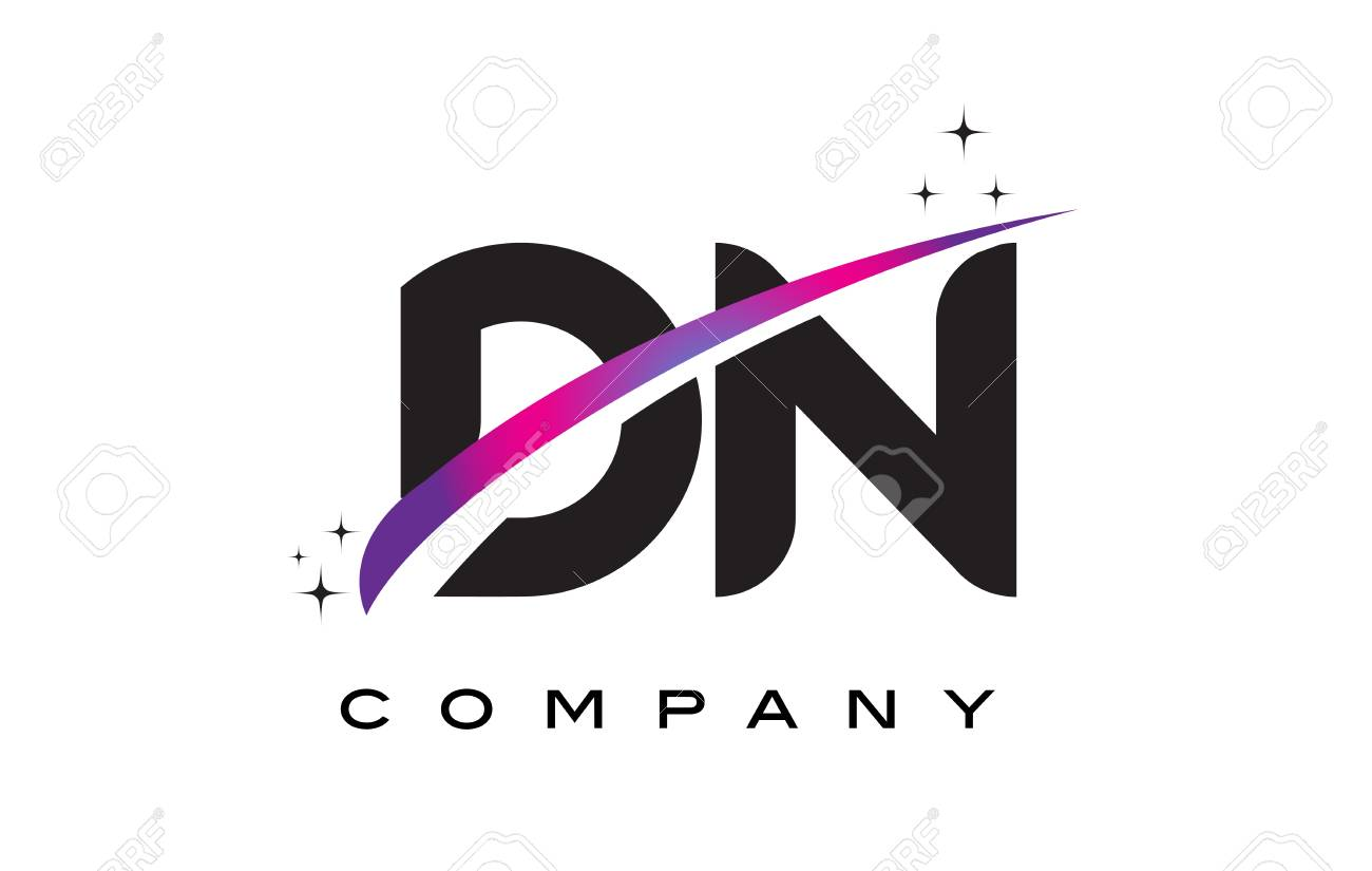 DN D N Black Letter Logo Design With Purple Magenta Swoosh And Stars Stock Vector