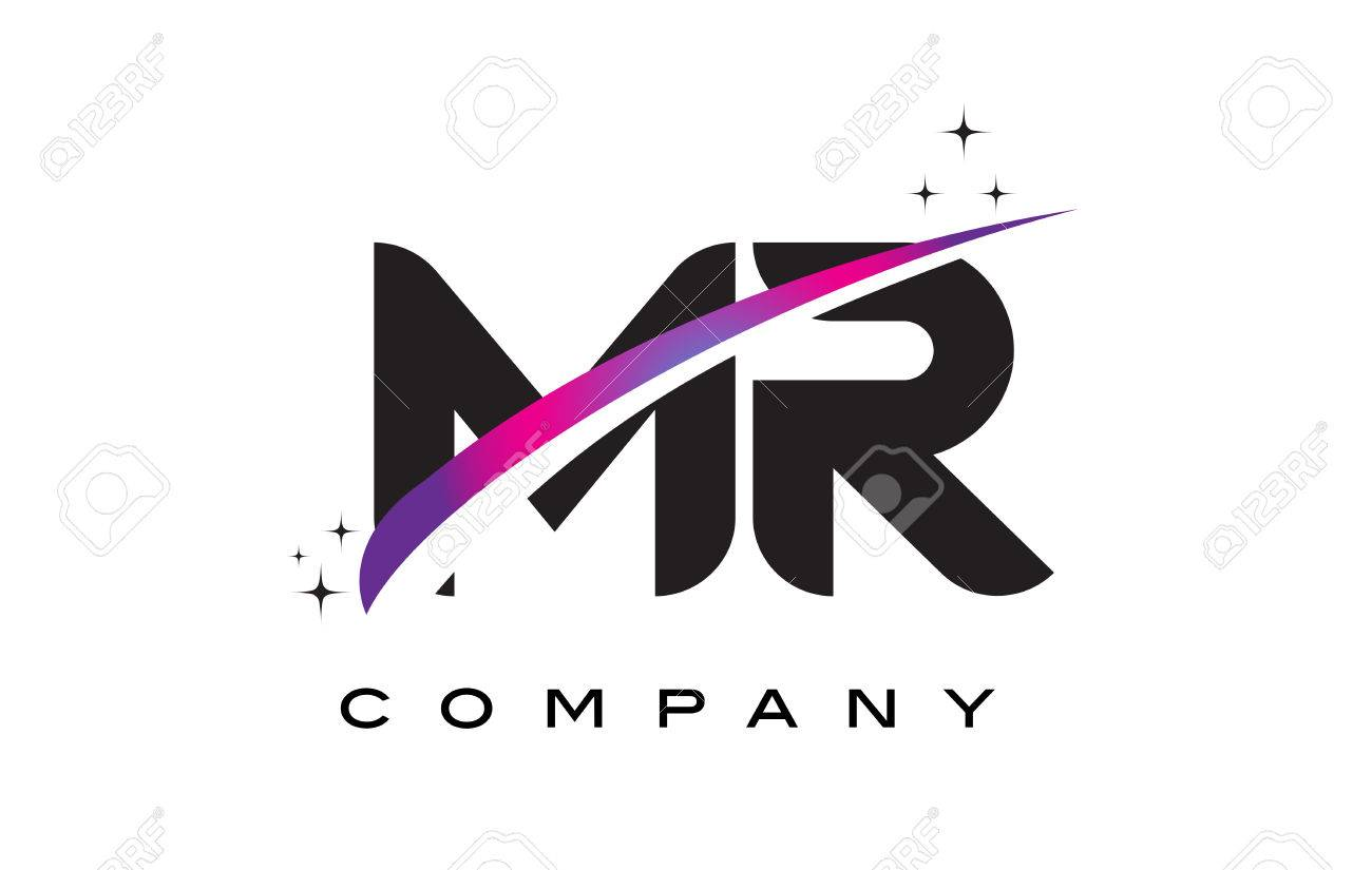MR M R Black Letter Logo Design With Purple Magenta Swoosh And Stars Stock Vector