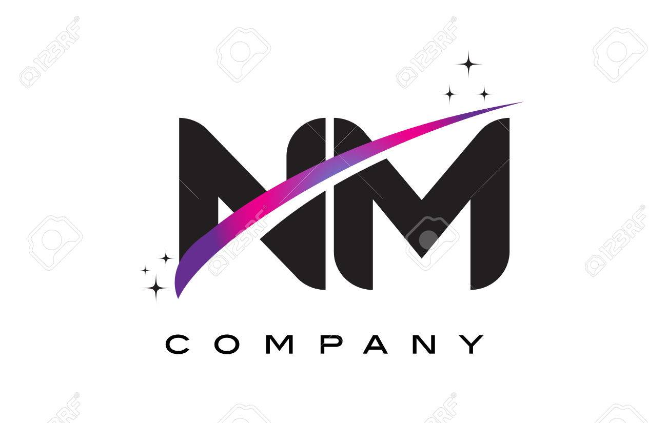 NM N M Black Letter Logo Design With Purple Magenta Swoosh And Stars Stock Vector