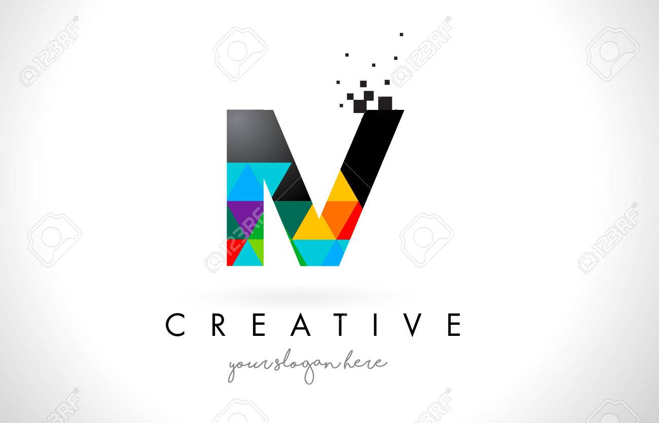 Iv I V Letter Logo With Colorful Vivid Triangles Texture Design