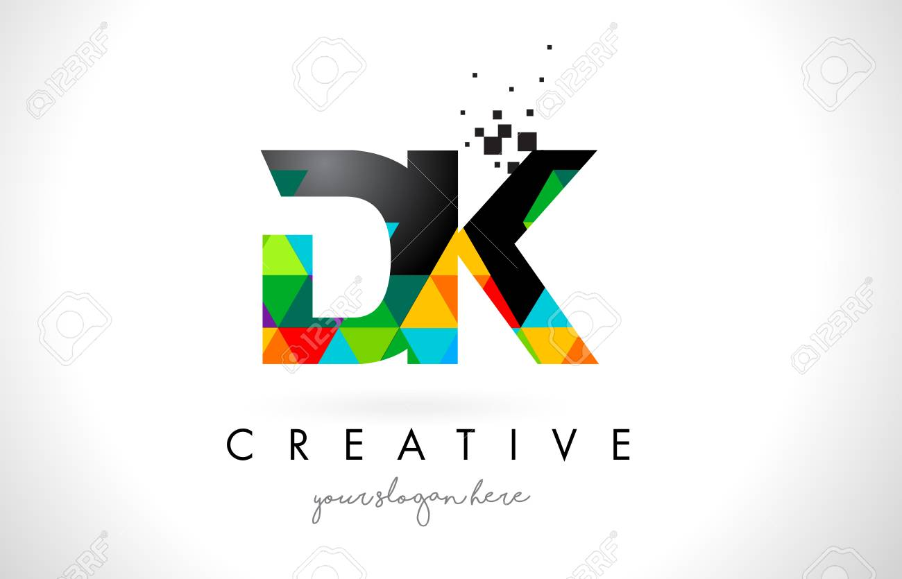 dk d k letter logo with colorful vivid triangles texture design