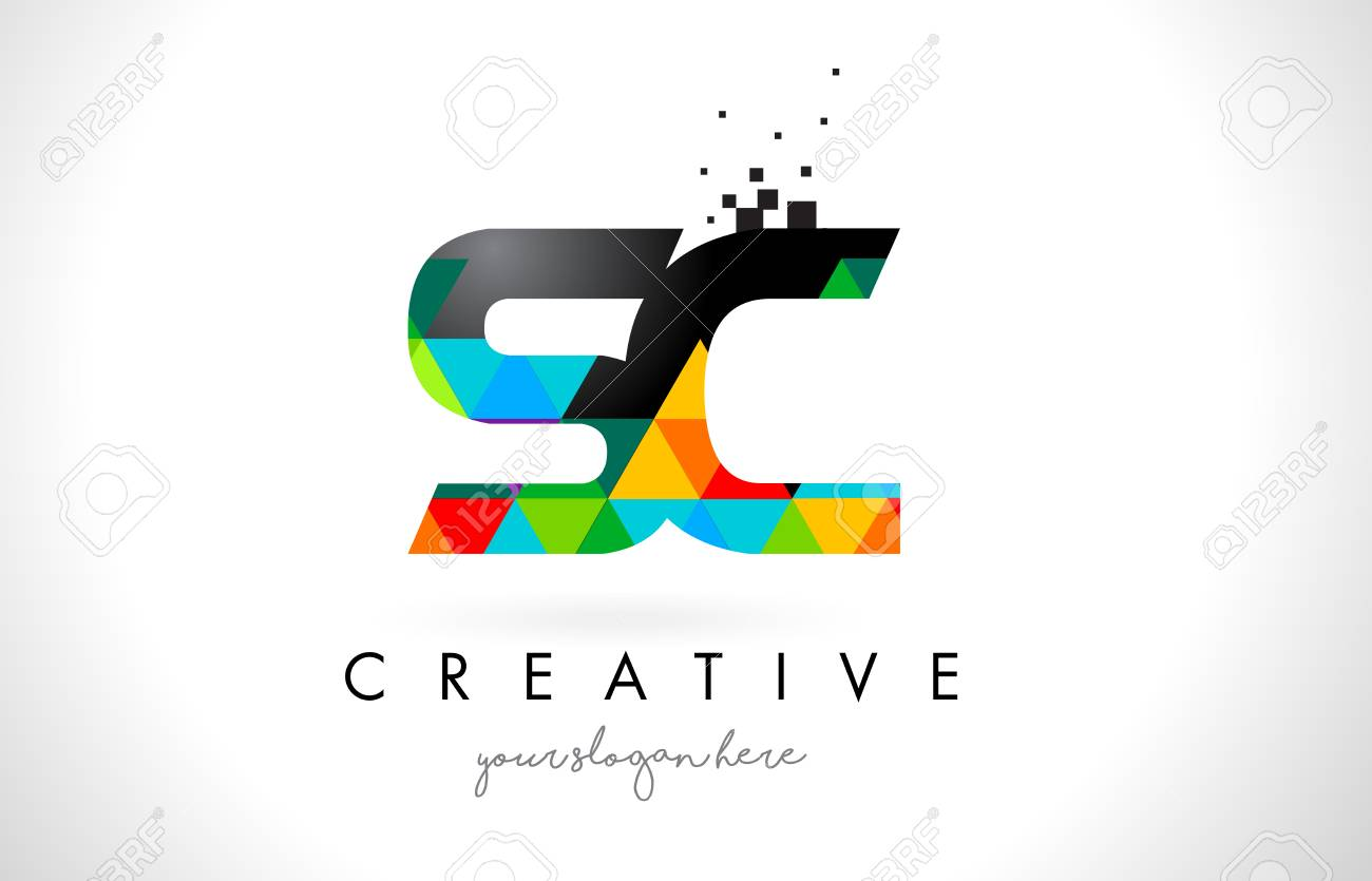 Sc S C Letter Logo With Colorful Vivid Triangles Texture Design