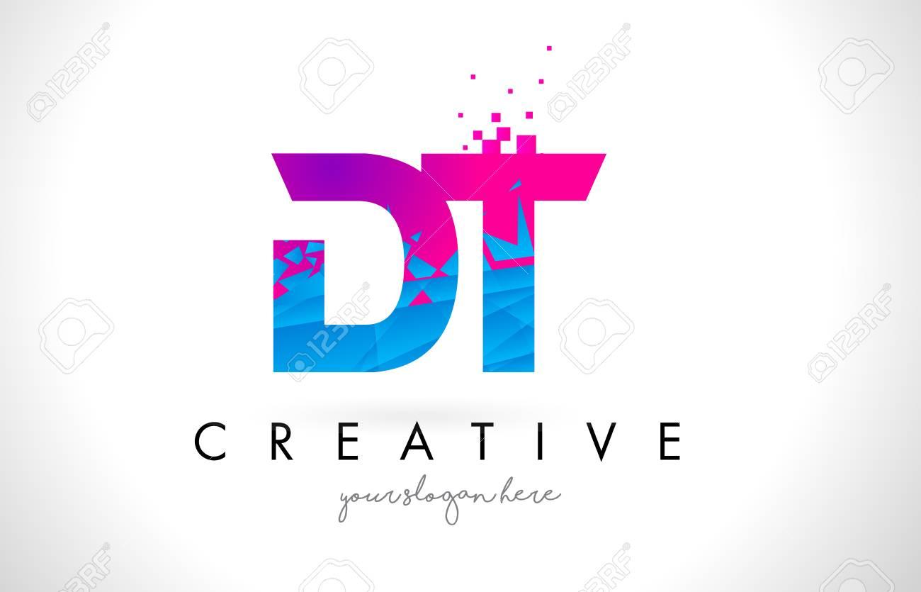 Dt d t letter logo with broken shattered blue pink triangles dt d t letter logo with broken shattered blue pink triangles texture design vector illustration stock thecheapjerseys Gallery
