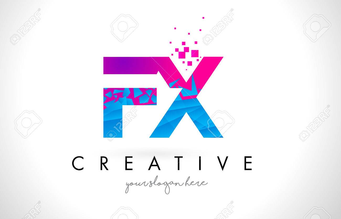 Fx f x letter logo with broken shattered blue pink triangles fx f x letter logo with broken shattered blue pink triangles texture design vector illustration stock thecheapjerseys Gallery