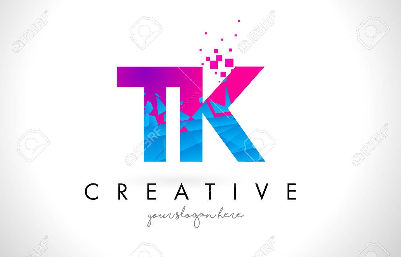 TK T K Letter Logo with Broken Shattered Blue Pink Triangles Texture Design Vector Illustration. - 77510289