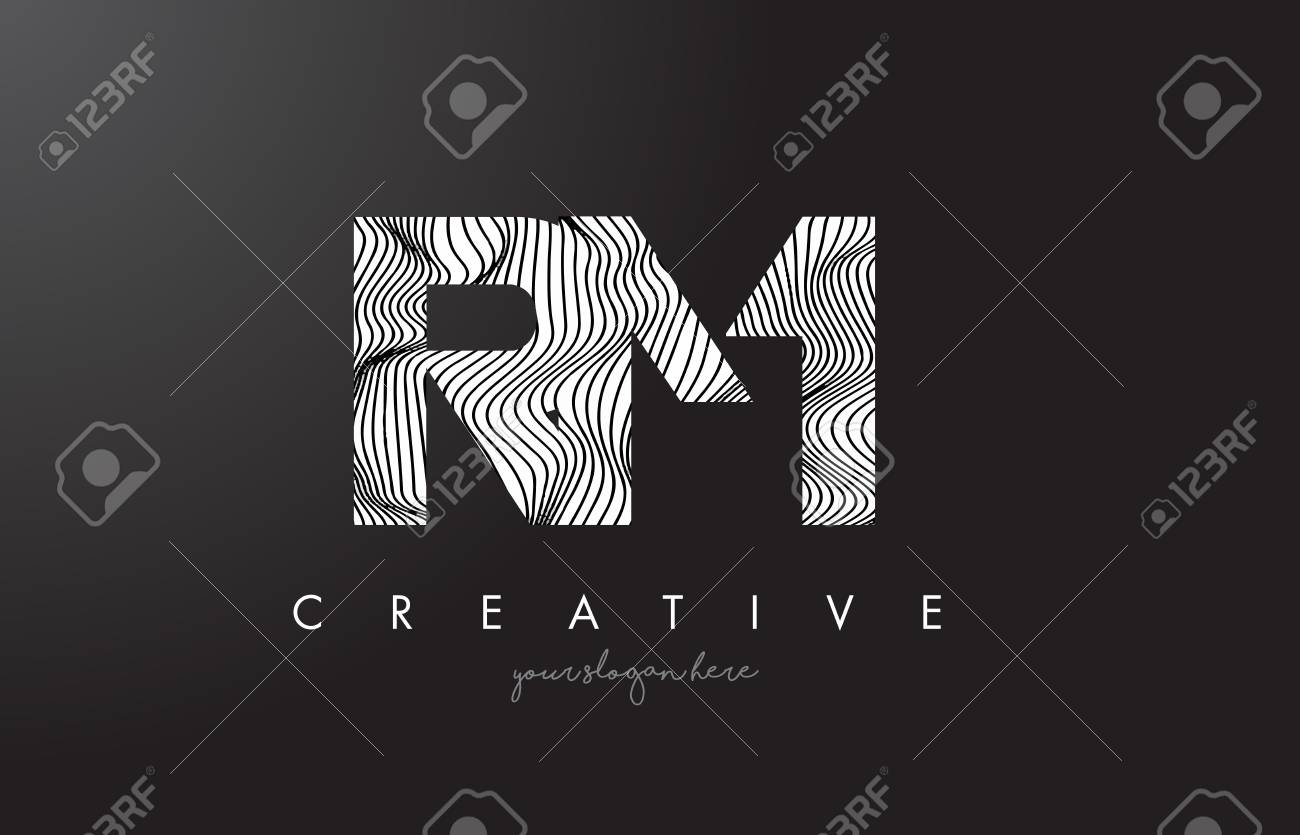 Drawing Lines In R : Rm r m letter logo with zebra lines texture design vector