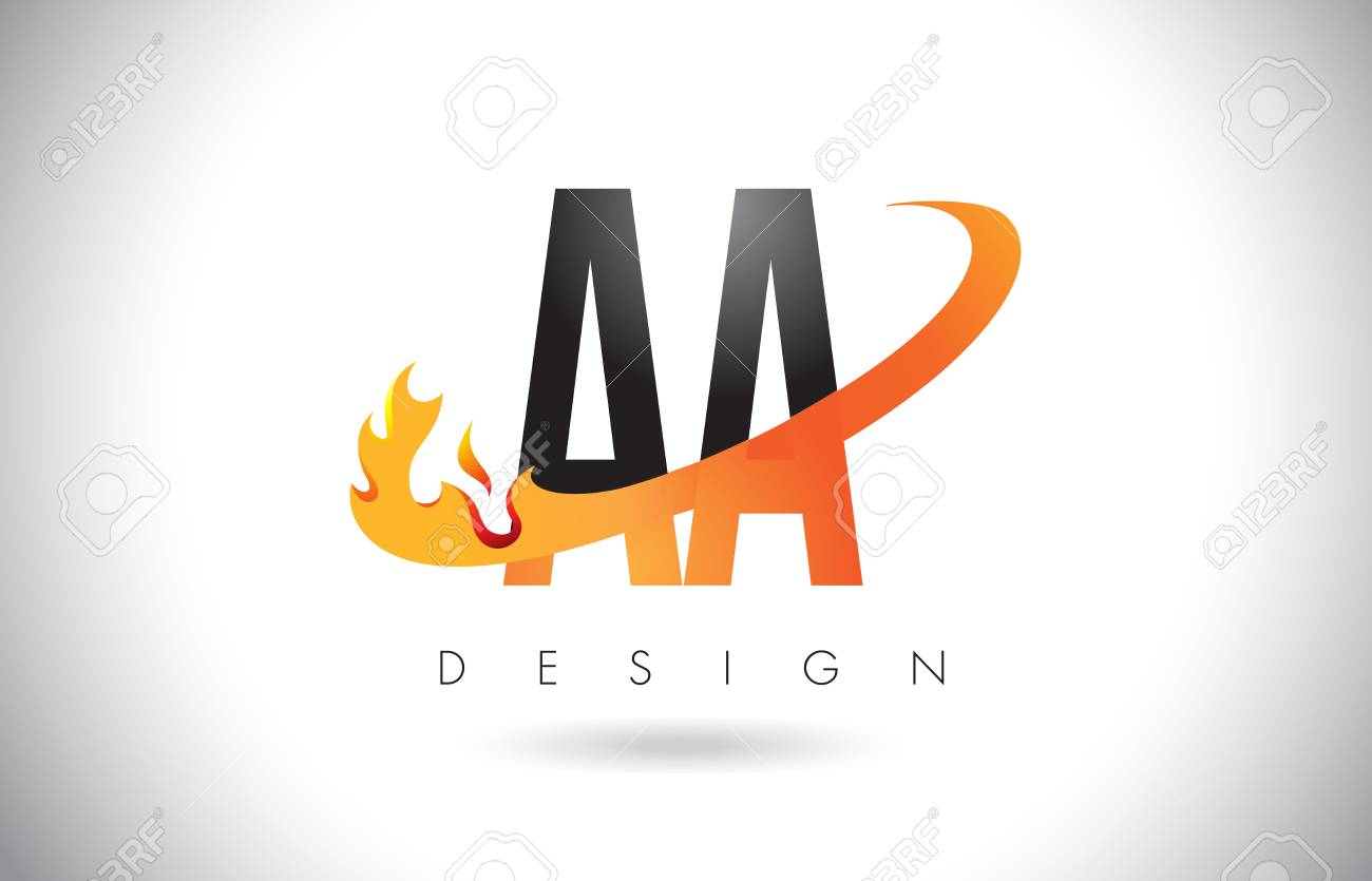 Aa A Letter Logo Design With Fire Flames And Orange Swoosh Vector