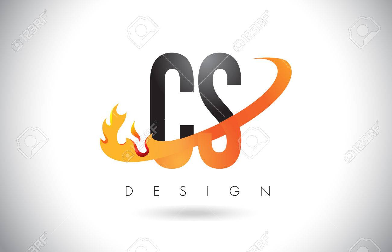 cs c s letter logo design with fire flames and orange swoosh vector illustration stock vector