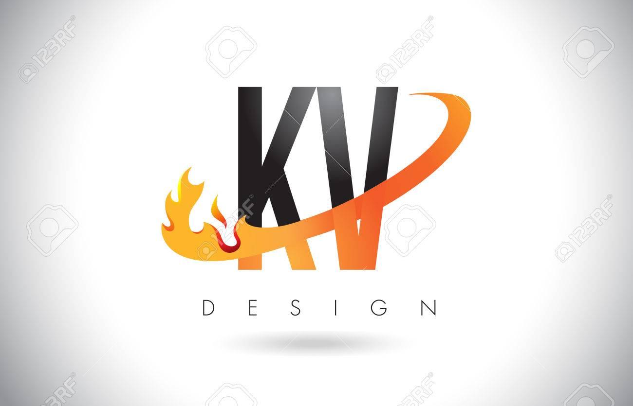 KV K V Letter Logo Design with Fire Flames and Orange Swoosh Vector Illustration. - 78902023