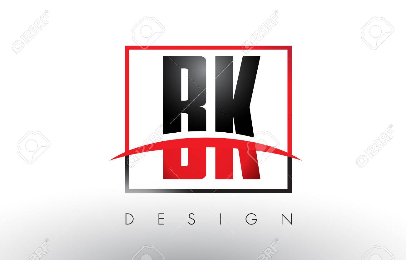 Bk B K Logo Letters With Red And Black Colors And Swoosh Creative