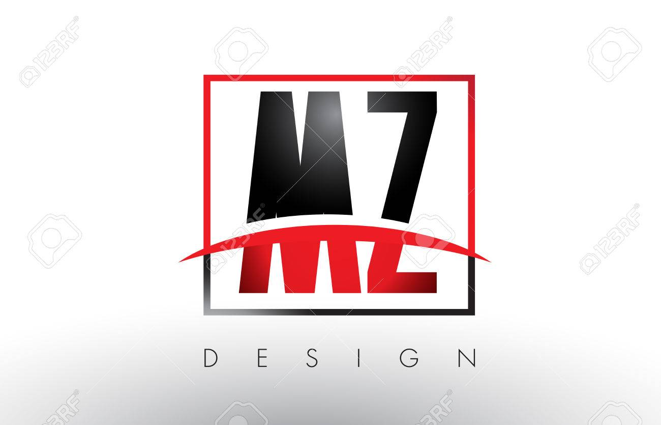 mz m z logo letters with red and black colors and swoosh creative rh 123rf com red and black bmw logos red and black logo social media
