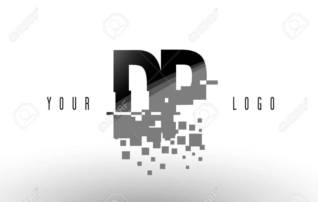 dp d p pixel letter with digital shattered black squares. creative