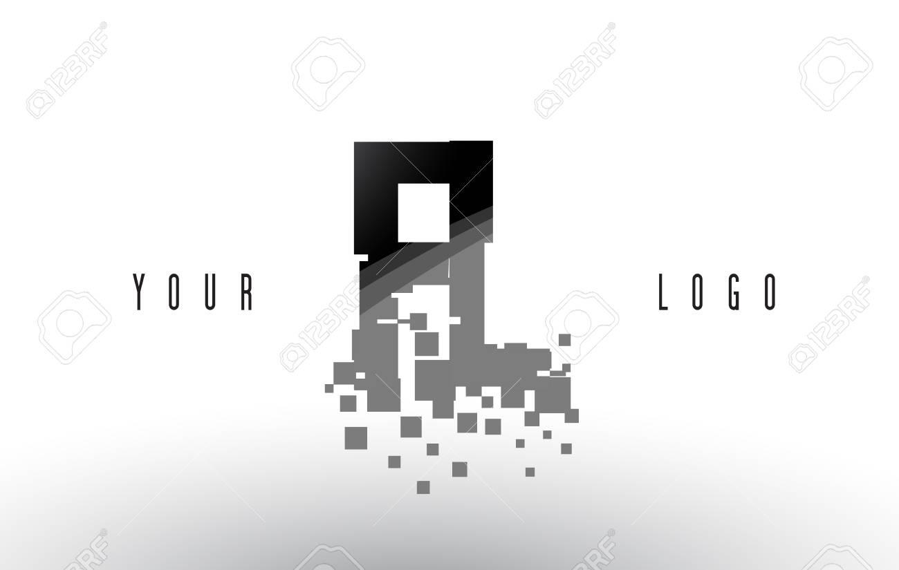 FL F L Pixel Letter with Digital Shattered Black Squares  Creative