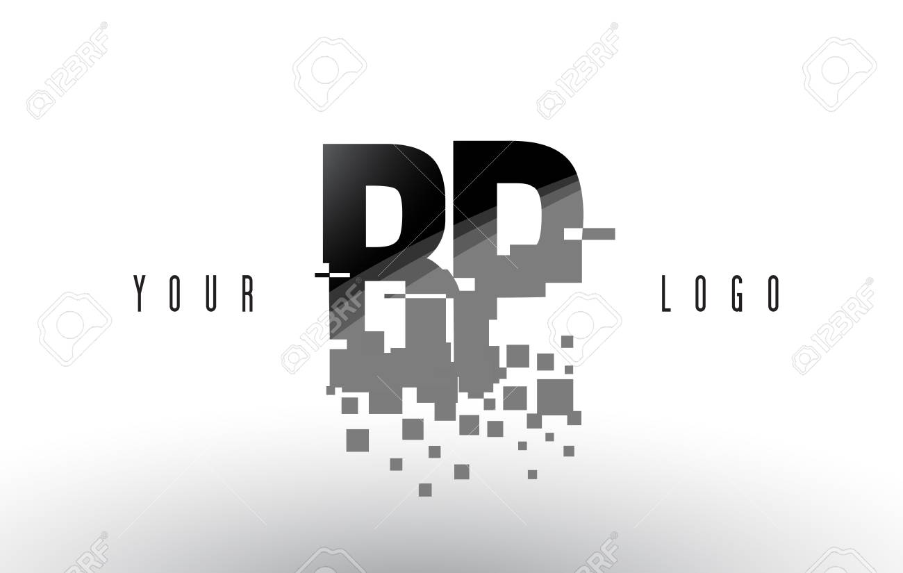 BP B P Pixel Letter Logo with Digital Shattered Black Squares