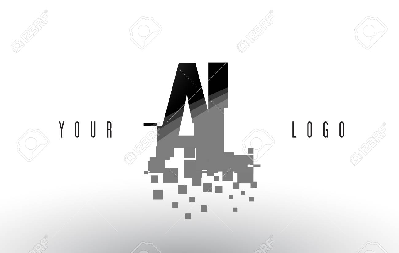 AL A L Pixel Letter with Digital Shattered Black Squares  Creative