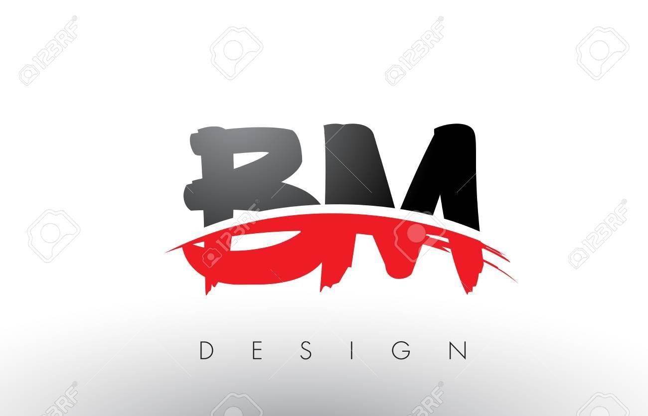 bm b m ブラシのロゴの赤と黒の色とブラシの文字概念設計を手紙します