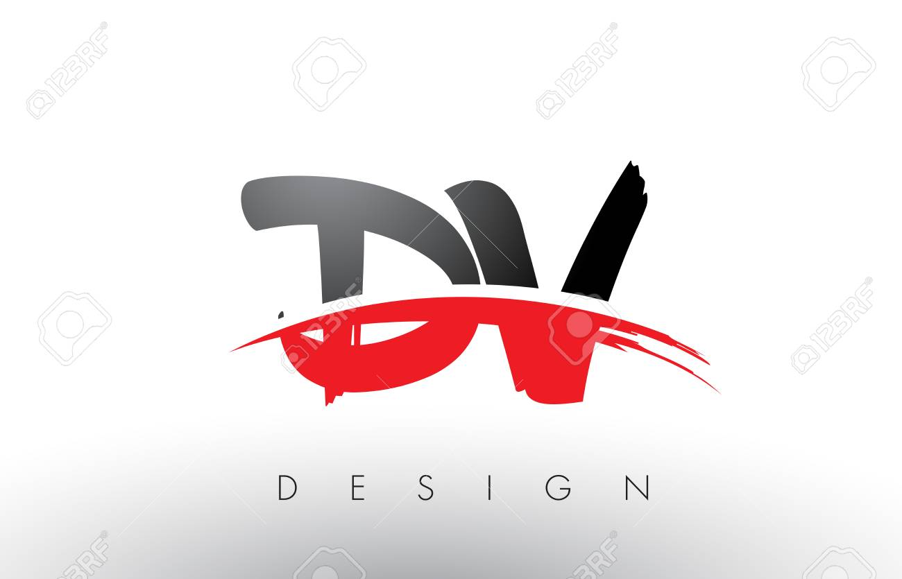 Dv Brush Logo Letters Design With Red And Black Colors Letter Concept