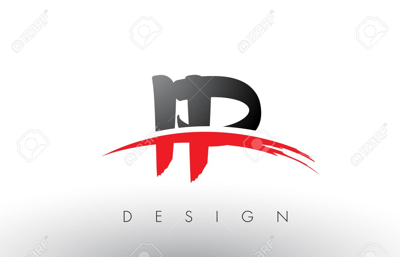 ip i p brush logo letters design with red and black colors and rh 123rf com red and black logos for 2008 f150 xl logo black bay red