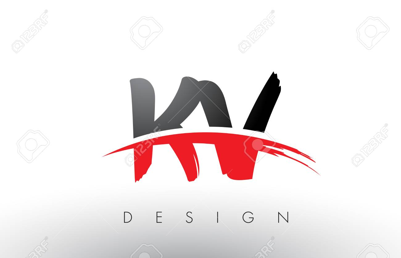 Kv K V Brush Logo Letters Design With Red And Black Colors And Royalty Free Cliparts Vectors And Stock Illustration Image 79173700