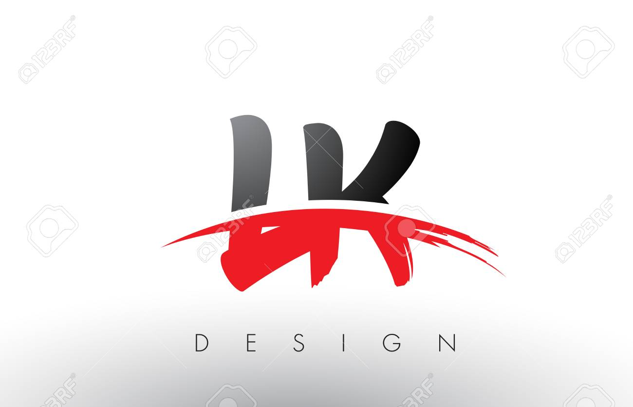 Lk L K Brush Logo Letters Design With Red And Black Colors And