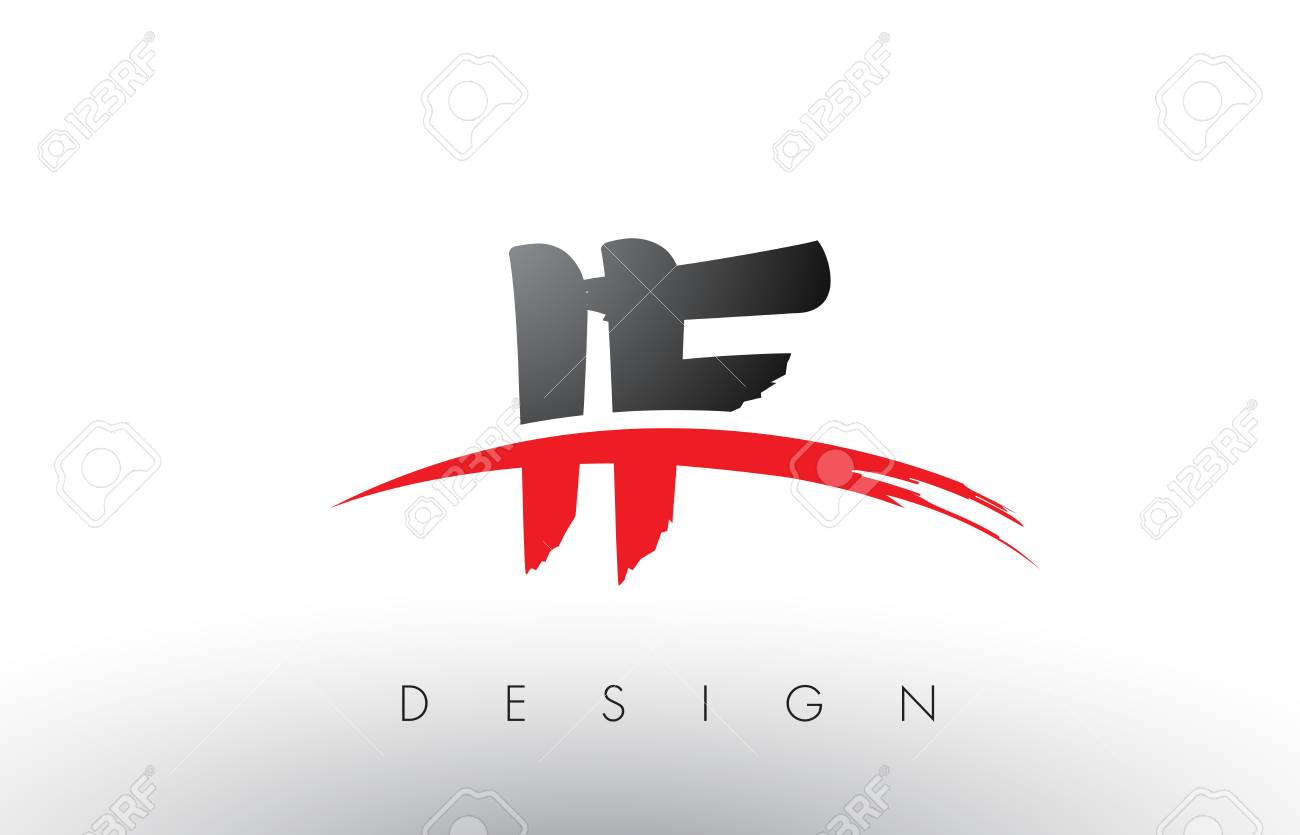 IF I F Brush Logo Letters Design With Red And Black Colors Letter Concept
