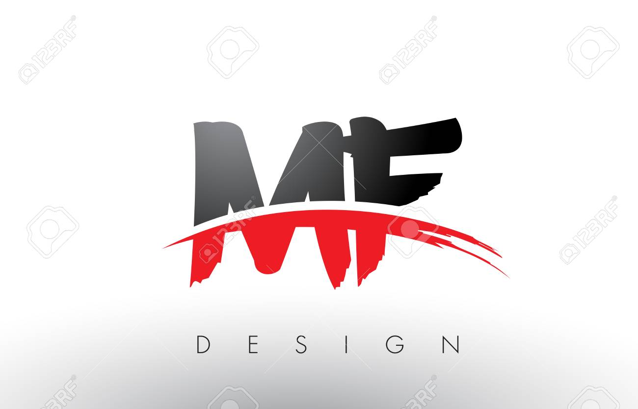 Mf Design mf m f brush logo letters design with red and black colors and
