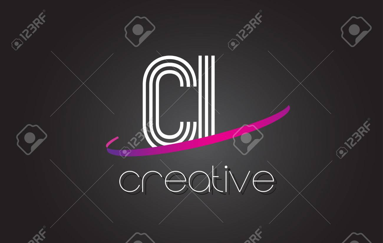 CL C L Letter Logo with Lines Design And Purple Swoosh Vector Letters Illustration. - 79508785