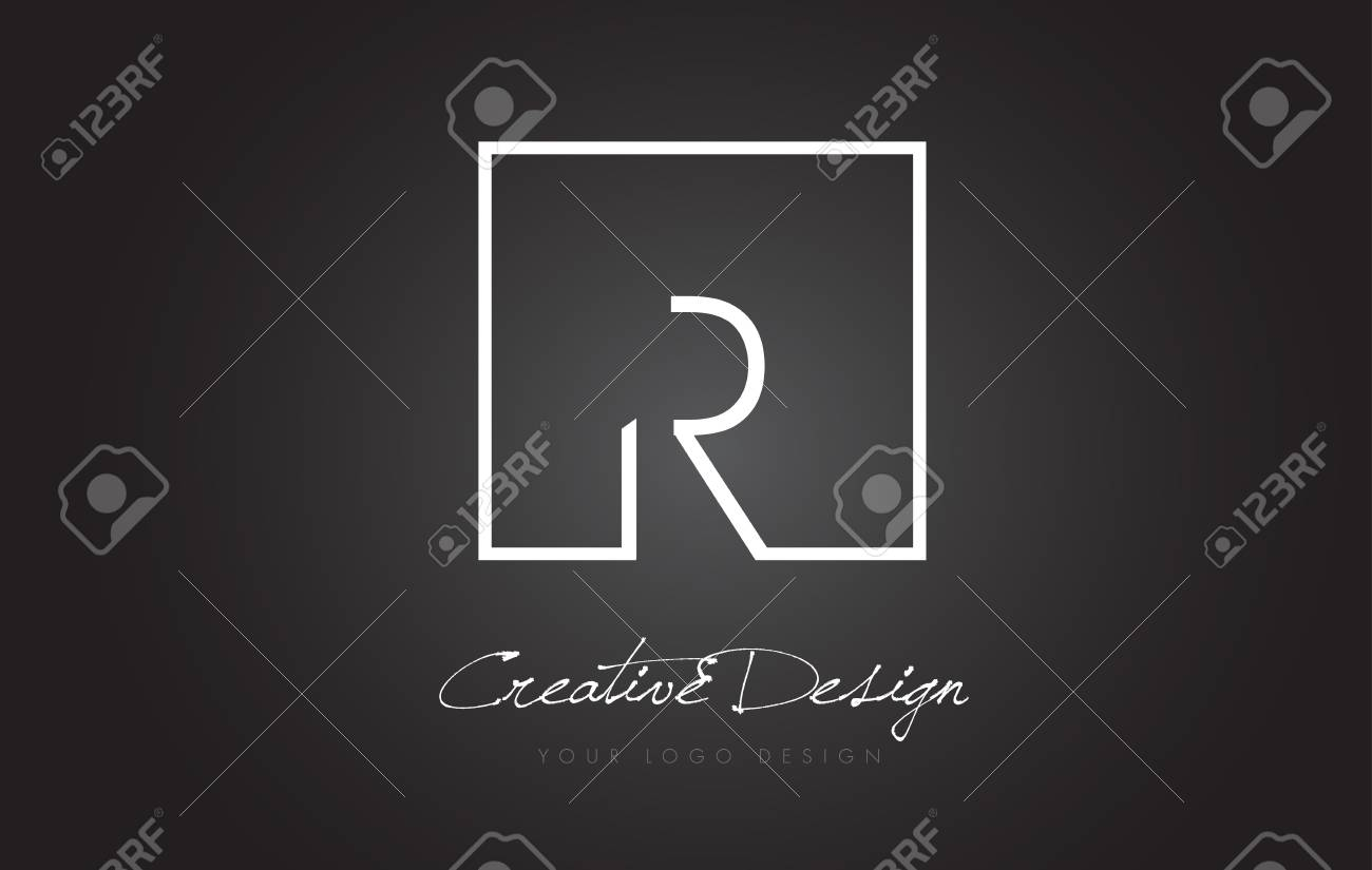 R Square Framed Letter Logo Design Vector With Black And White