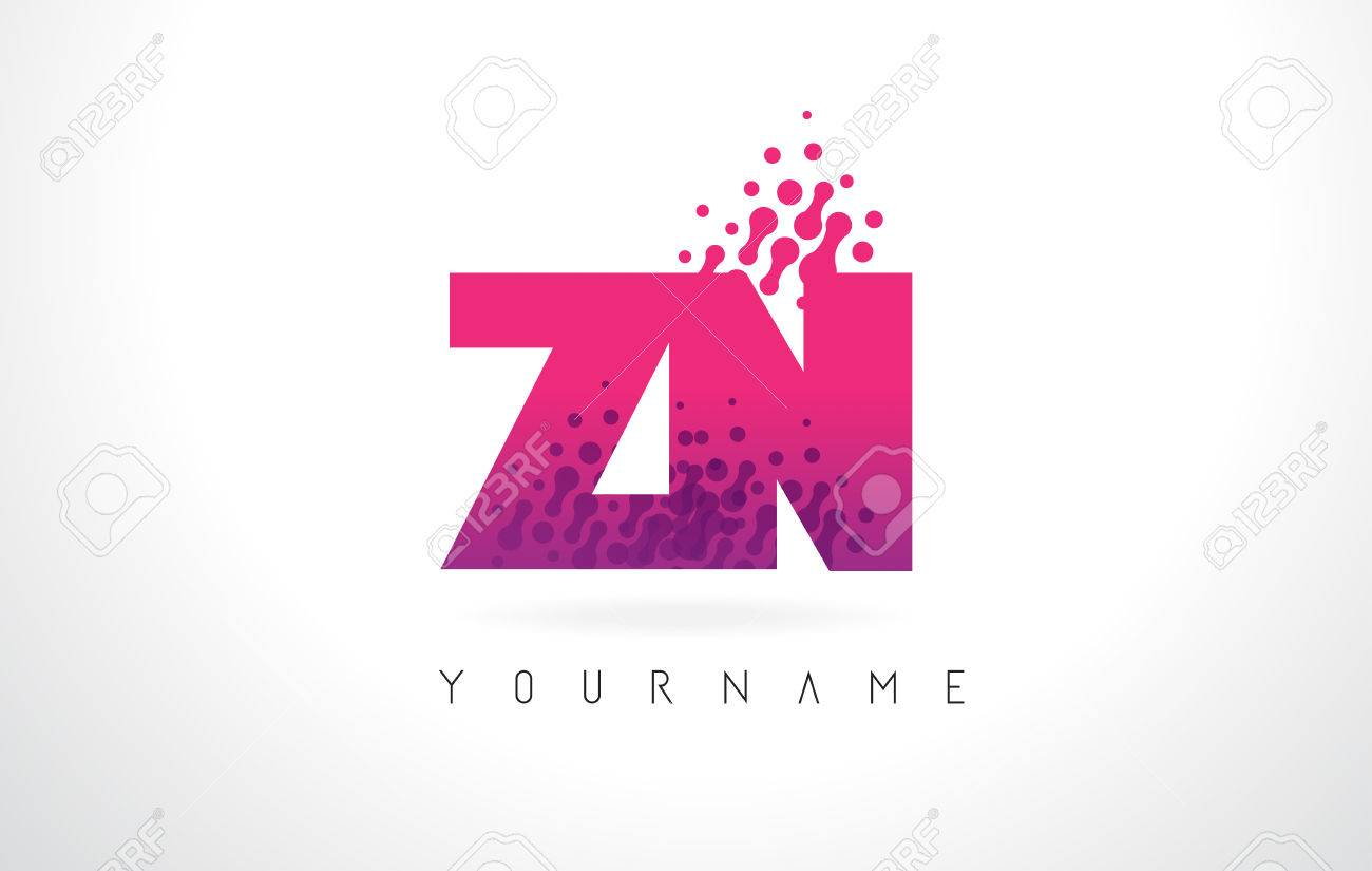 ZN Z N Letter Logo With Pink Letters And Purple Color Particles ...
