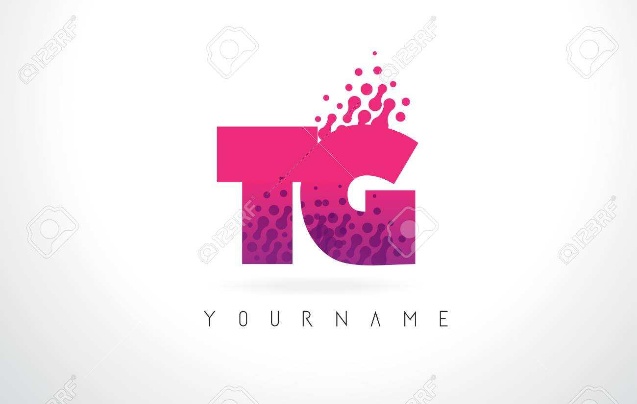 Tg T G Letter Logo With Pink Letters And Purple Color Particles