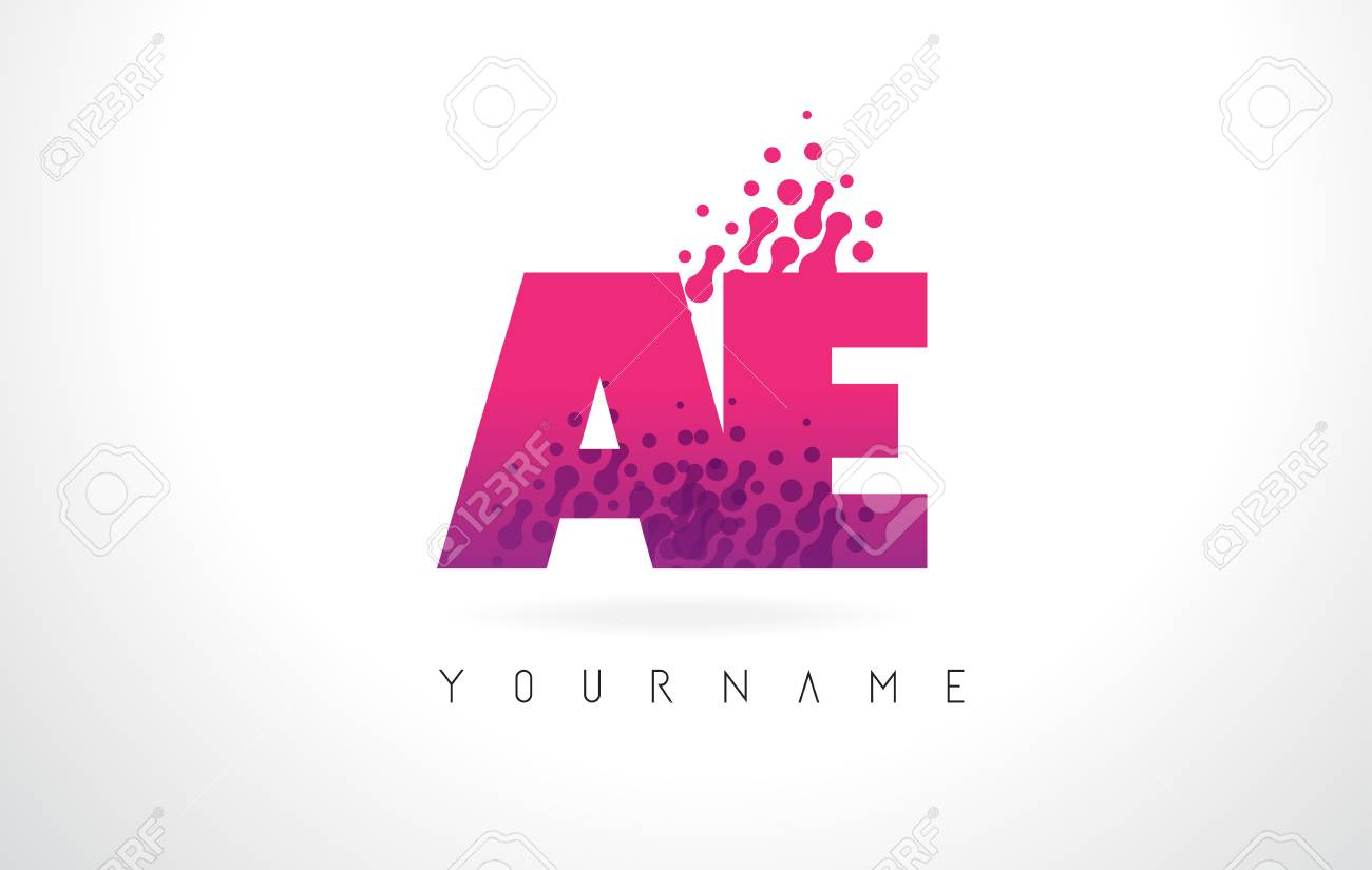 AE A D Letter Logo With Pink Letters And Purple Color Particles ...