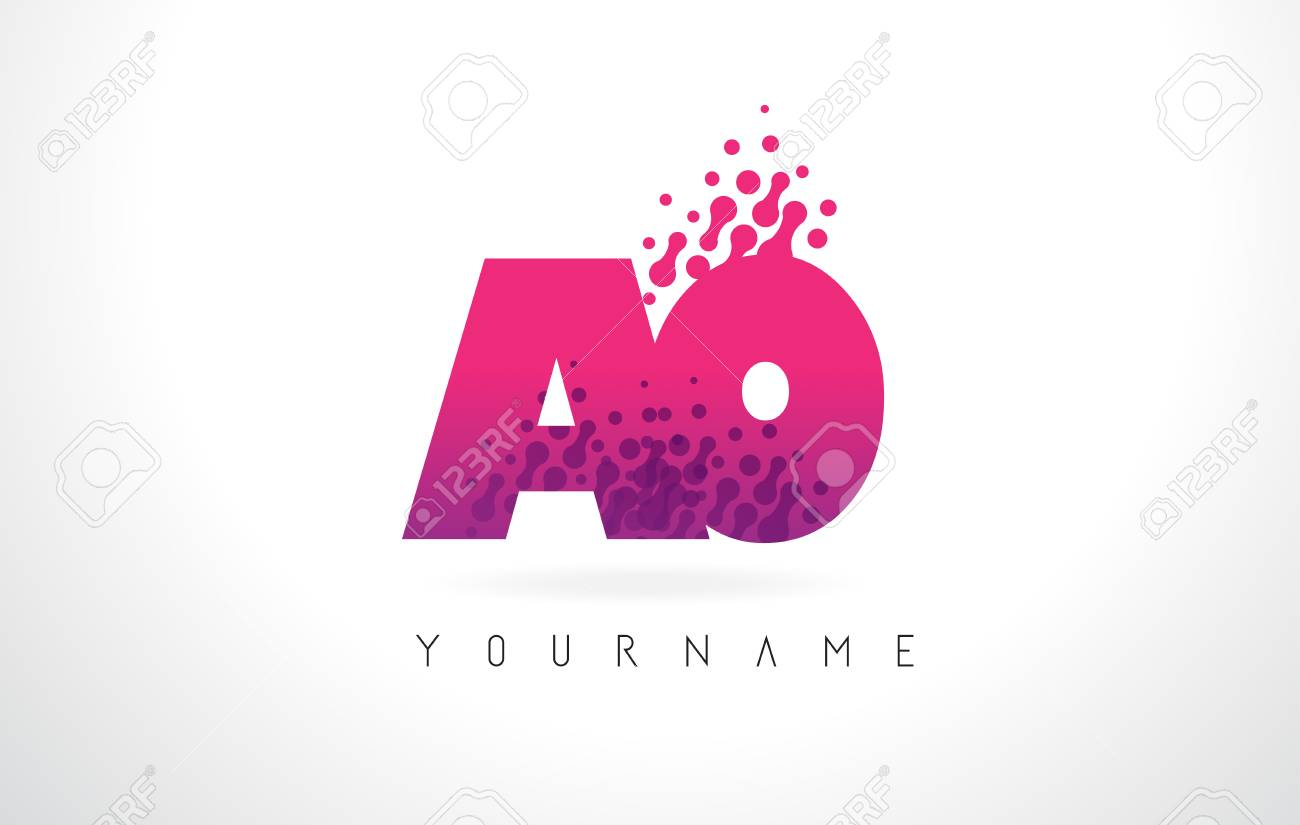 AO A O Letter Logo With Pink Letters And Purple Color Particles ...