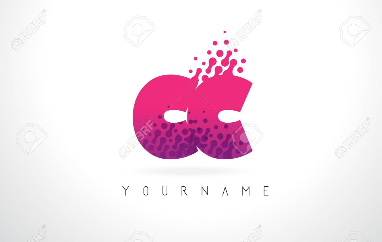 CC C C Letter Logo With Pink Letters And Purple Color Particles ...