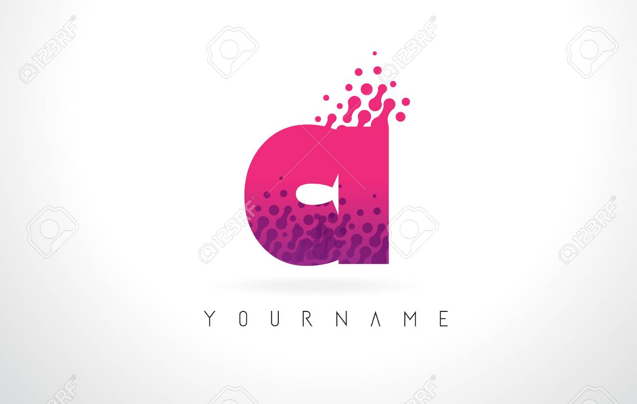 CI C I Letter Logo With Pink Letters And Purple Color Particles ...