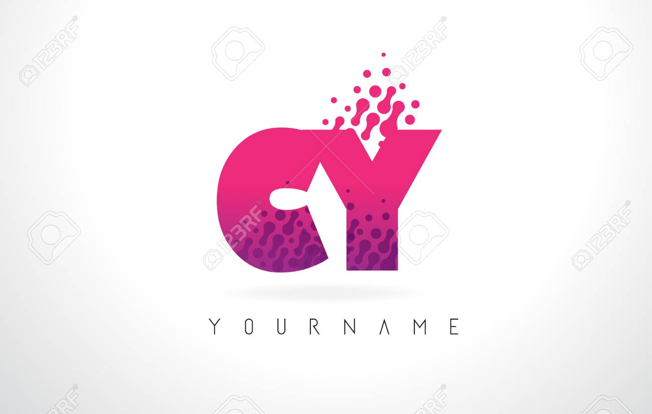CY C Y Letter Logo With Pink Letters And Purple Color Particles ...