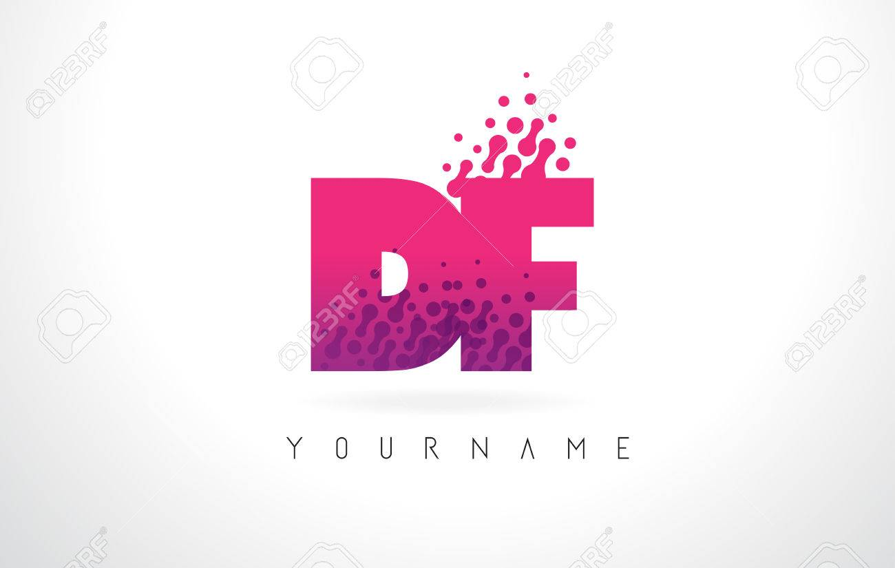 DF D F Letter Logo With Pink Letters And Purple Color Particles ...