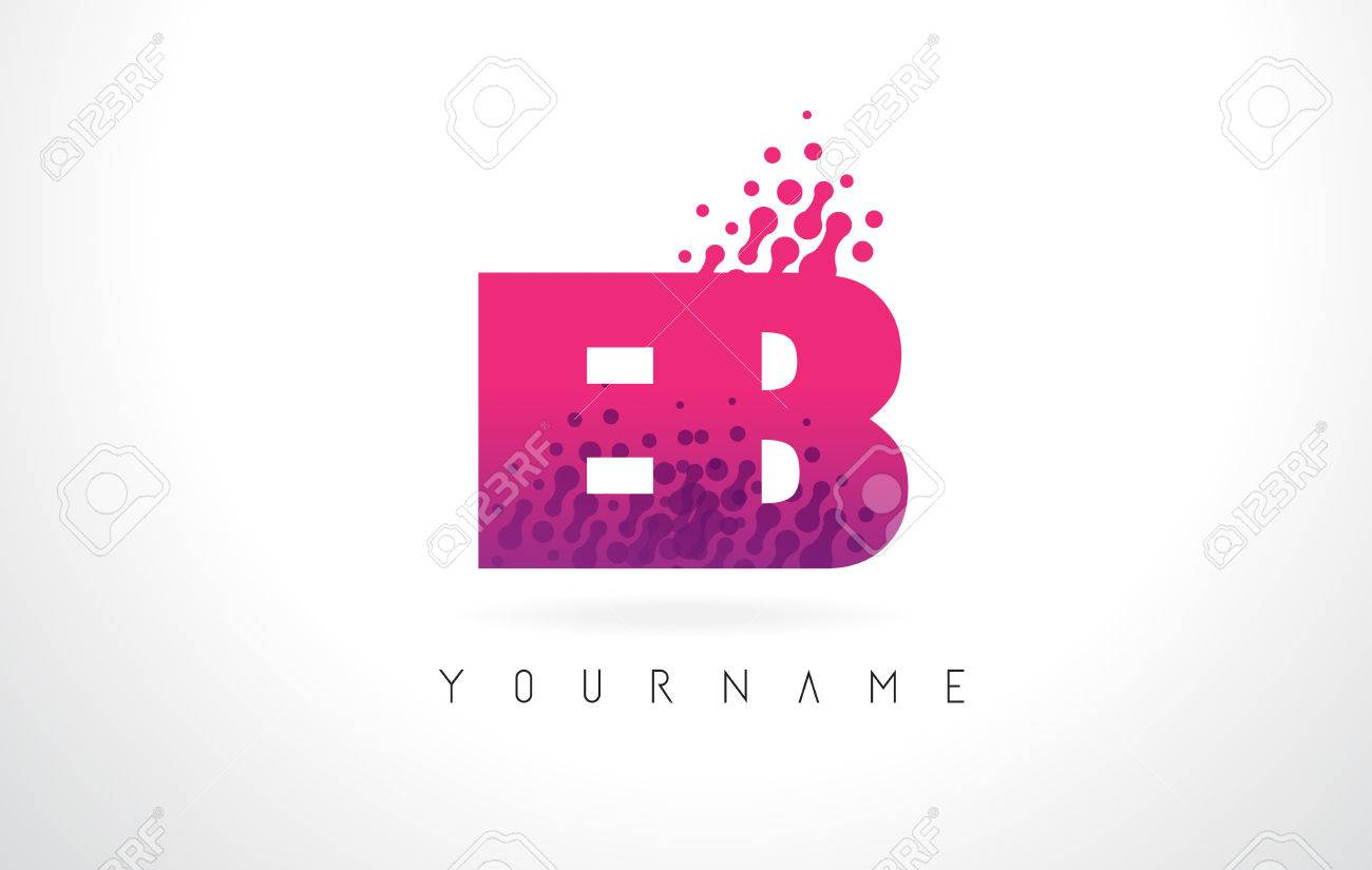 EB E B Letter Logo With Pink Letters And Purple Color Particles ...
