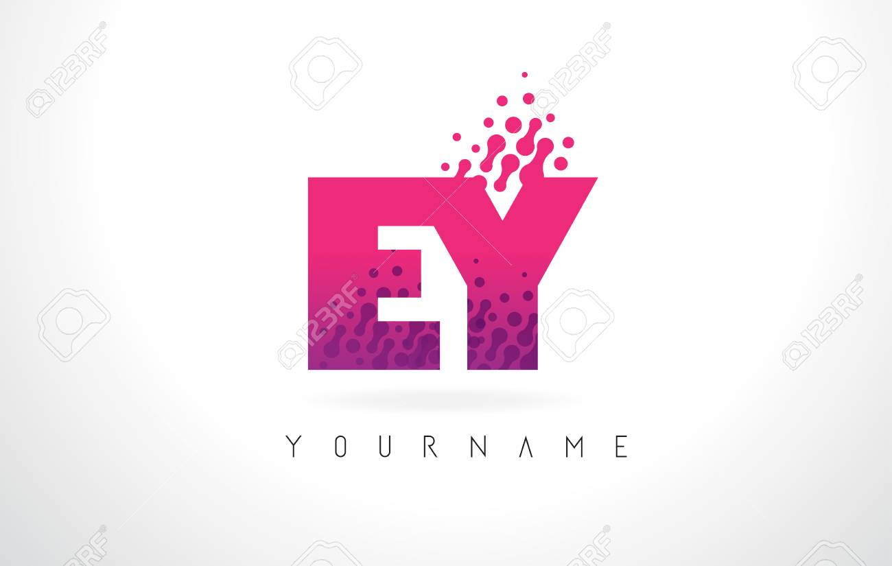 EY E Y Letter Logo With Pink Letters And Purple Color Particles ...