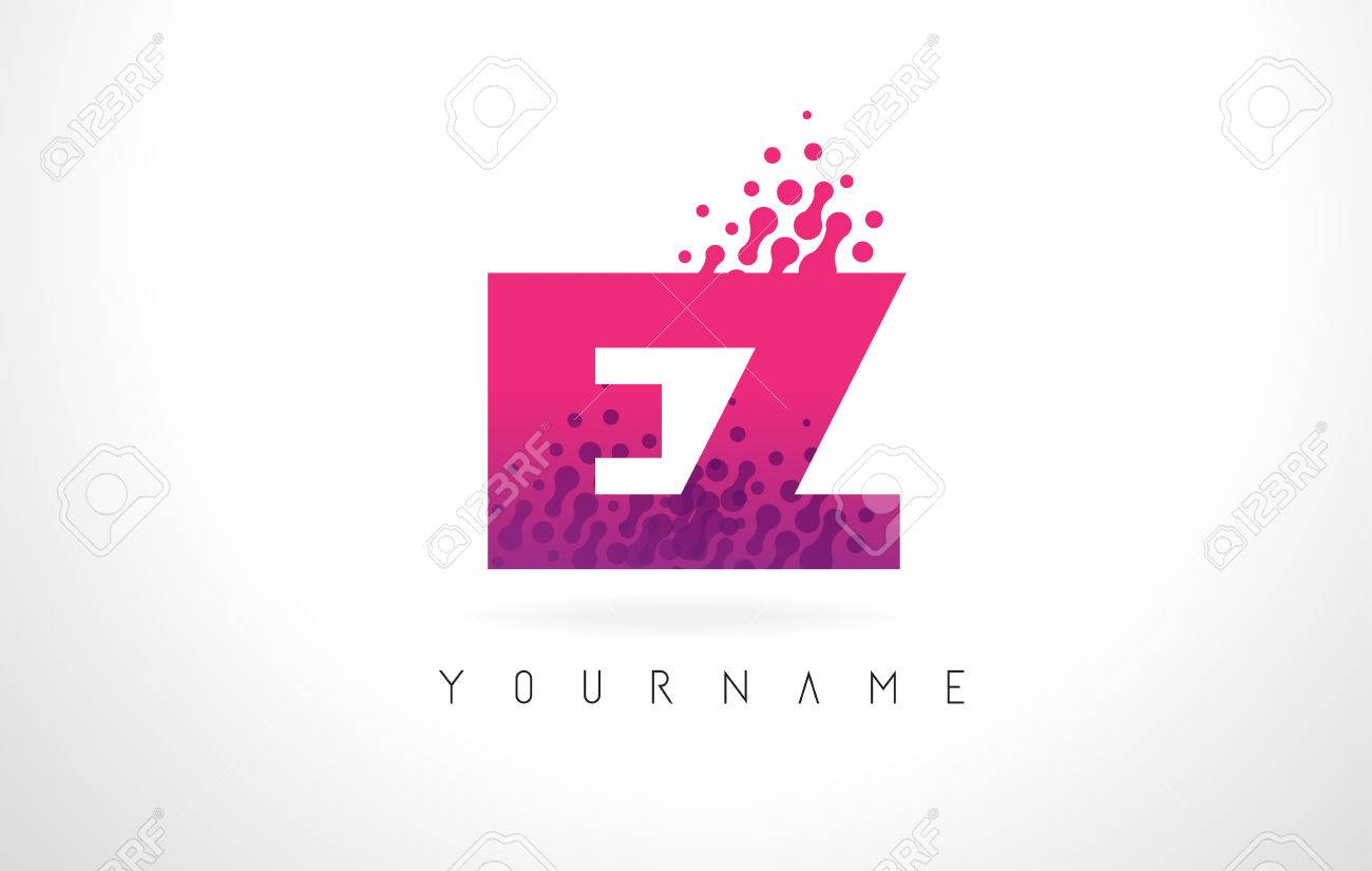 EZ E Z Letter Logo With Pink Letters And Purple Color Particles ...