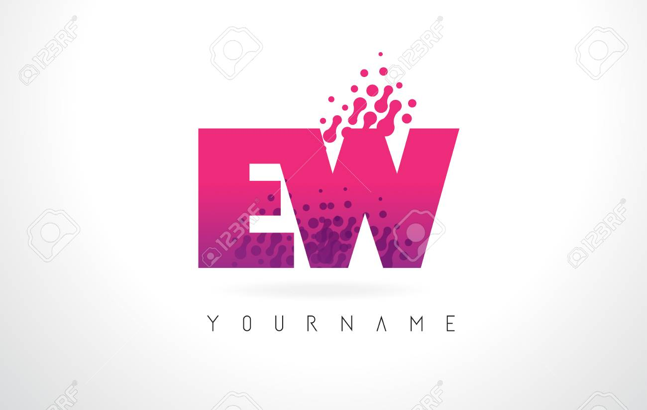 EW E W Letter Logo With Pink Letters And Purple Color Particles ...