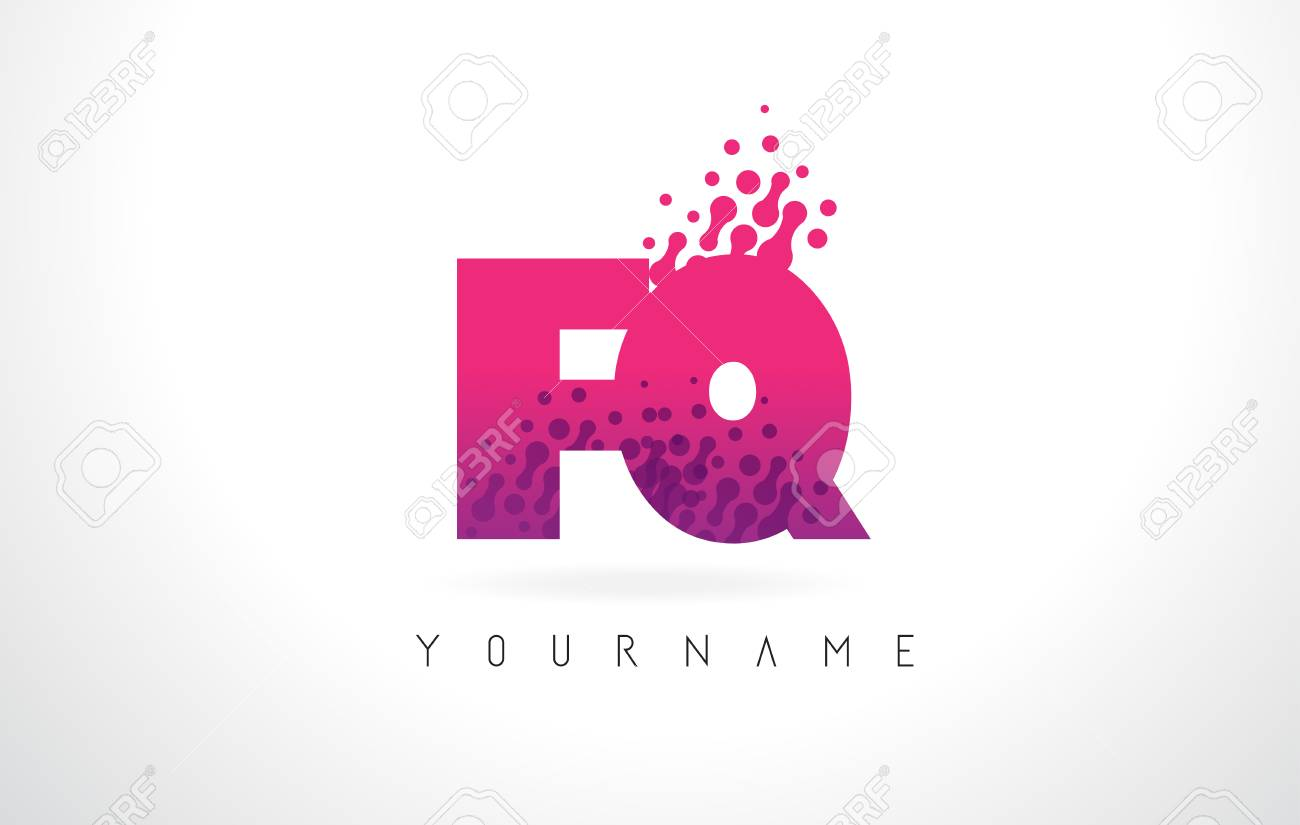 FQ F Q Letter Logo With Pink Letters And Purple Color Particles ...