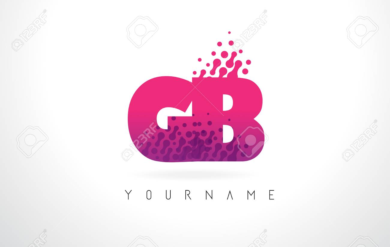 GB G B Letter Logo With Pink Letters And Purple Color Particles ...